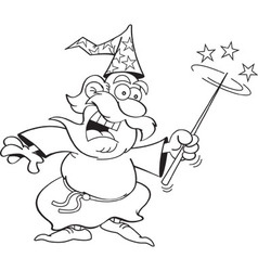 Cartoon wizard waving a magic wand vector