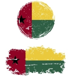 Guinea-bissau round and square grunge flags vector