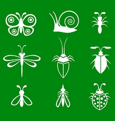 Insect set green vector