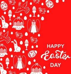 Easter angel card red vector