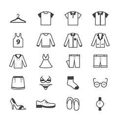 Cloth and accessory icons line vector