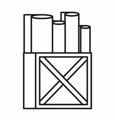 Rolls of white paper in a wooden box icon vector