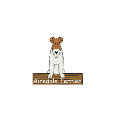 airedale terrier cartoon dog icon vector image vector image