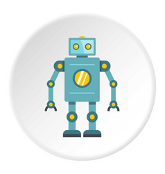 Blue retro robot icon circle vector