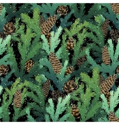 Christmas coniferous seamless pattern vector image