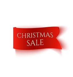 christmas sale red realistic paper banner vector image