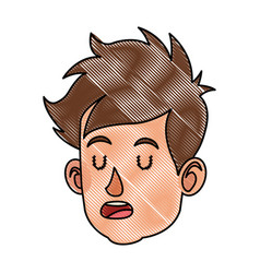 Drawing cartoon head boy child close eyes vector