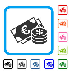 euro and dollar cash framed icon vector image