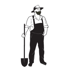 Farmer with shovel vector image