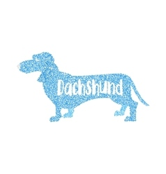 Form of round particles dachshund dog flat design vector