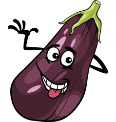funny eggplant vegetable cartoon vector image vector image