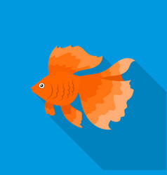 Gold fish icon flat singe aquarium fish icon from vector