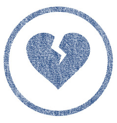 Heart break rounded fabric textured icon vector