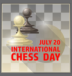 International chess day card july 20 holiday vector