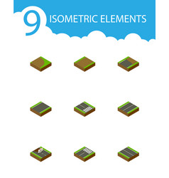 Isometric way set of flat footer plane and other vector