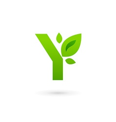 Letter y eco leaves logo icon design template vector