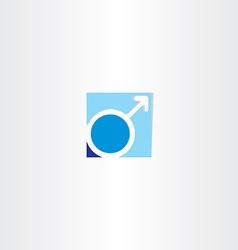 Male gender symbol blue icon vector