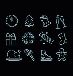 neon christmas icons vector image