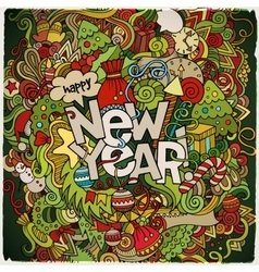 New Year hand lettering and doodles elements vector image vector image