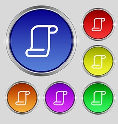 Paper scroll icon sign round symbol on bright vector