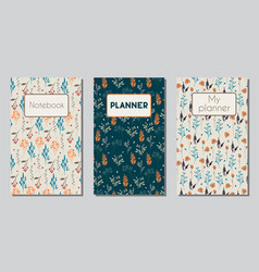 planner and notebook floral covers vector image vector image