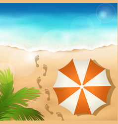 Sandy beach with a beach umbrella vector