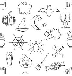 Seamless doodle halloween pattern vector