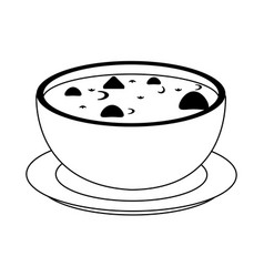 Soup with tortilla chips food icon image vector