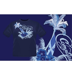 summer t-shirt design with palm tree vector image