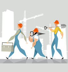 three builders with tools vector image