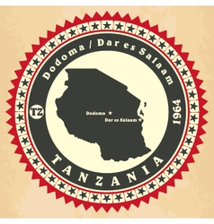 Vintage label-sticker cards of tanzania vector