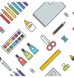 Seamless school office supplies pattern 1 vector