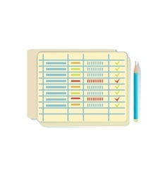 List with ticked lines task schedule office vector