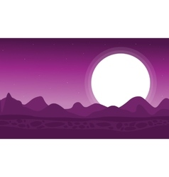 Silhouette of dessert with moon landscape vector