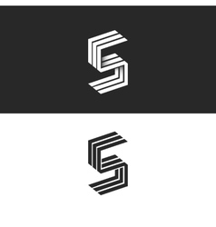 Letter S logo isometric black and white typography vector image