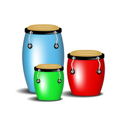 Multicoloured congas music band with shadow vector