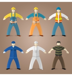 Professions set of workers and builders vector