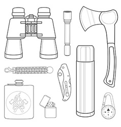 Mini camping set line-art vector