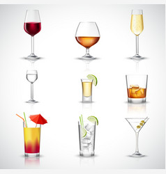 Alcohol realistic set vector