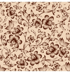 Vintage flower ornate seamless pattern vector