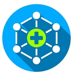 Medical network flat round icon with long shadow vector