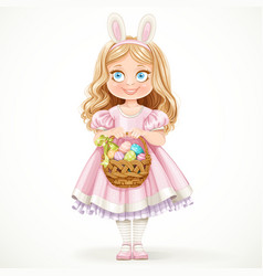 Cute little girl with hare ears on her head vector