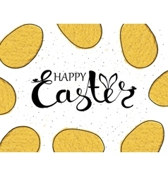 Handmade background with yellow eggs and wishing vector