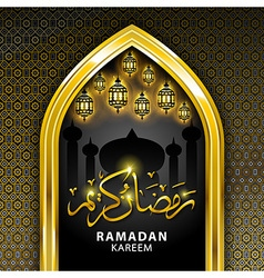 Ramadan greeting card on black background ramadan vector
