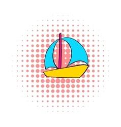 Sail boat icon comics style vector