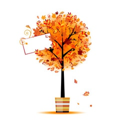 Beautiful autumn tree in pot for your design vector