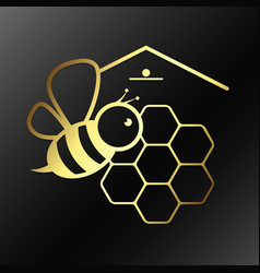 bee and honeycombs symbol vector image vector image