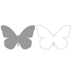 butterfly grey set icon vector image vector image