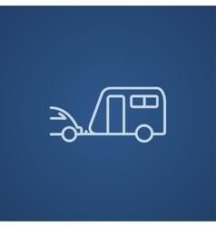 Car with caravan line icon vector
