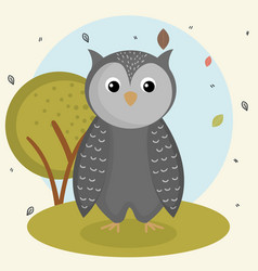 Cartoon owl wild animal with falling leaves vector
